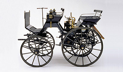 In Contrast To The Benz Patent Motor Car Daimler S First Automobile Was Merely A Carriage Without Drawbar But With Conventional Steering